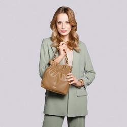 Small tote bag with tortoise shell chain shoulder strap, camel, 92-4Y-609-5, Photo 1