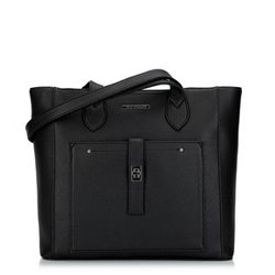 Classic shopper bag with front pocket, black, 29-4Y-002-1, Photo 1