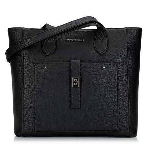 Torebka shopperka klasyczna z kieszenią z przodu, czarny, 29-4Y-002-1, Zdjęcie 1