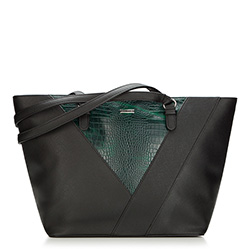 Shopper bag, black-green, 87-4Y-563-Z, Photo 1