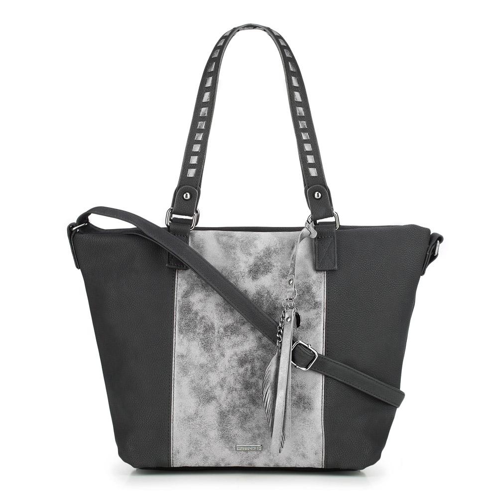 Torebka damska, czarno - srebrny, 87-4Y-718-1S, Zdjęcie 1