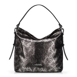 Women's hobo bag, black-silver, 91-4Y-206-S, Photo 1