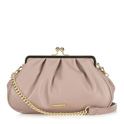 Women's ruched clutch bag, powder pink, 91-4Y-409-P, Photo 1