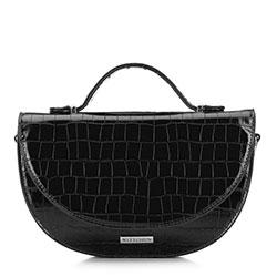 Damska torebka półksiężyc o krokodylej fakturze z saszetką, czarny, 91-4Y-410-1, Zdjęcie 1