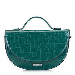 Damska torebka półksiężyc o krokodylej fakturze z saszetką, zielony, 91-4Y-410-Z, Zdjęcie 1