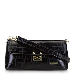 Women's croc print flap bag, black, 91-4Y-411-1, Photo 1