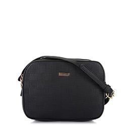 Damska torebka listonoszka wytłaczana, czarny, 91-4Y-623-1, Zdjęcie 1