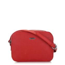 Damska torebka listonoszka wytłaczana, czerwony, 91-4Y-623-3, Zdjęcie 1