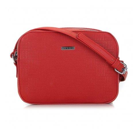Damska torebka listonoszka wytłaczana, czerwony, 91-4Y-623-7, Zdjęcie 1