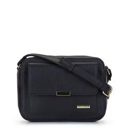 Cross body bag with geometric pocket, black, 92-4Y-207-1, Photo 1