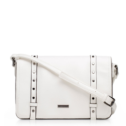 Women's flap bag with studded strap details, white, 92-4Y-563-0, Photo 1