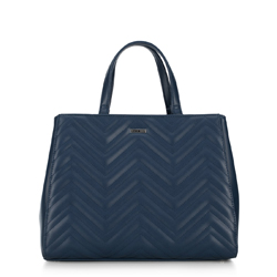 Women's tote bag with chevron quilting, navy blue, 92-4Y-600-7, Photo 1