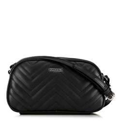 Women's messenger bag with chevron quilting, black, 92-4Y-601-1, Photo 1