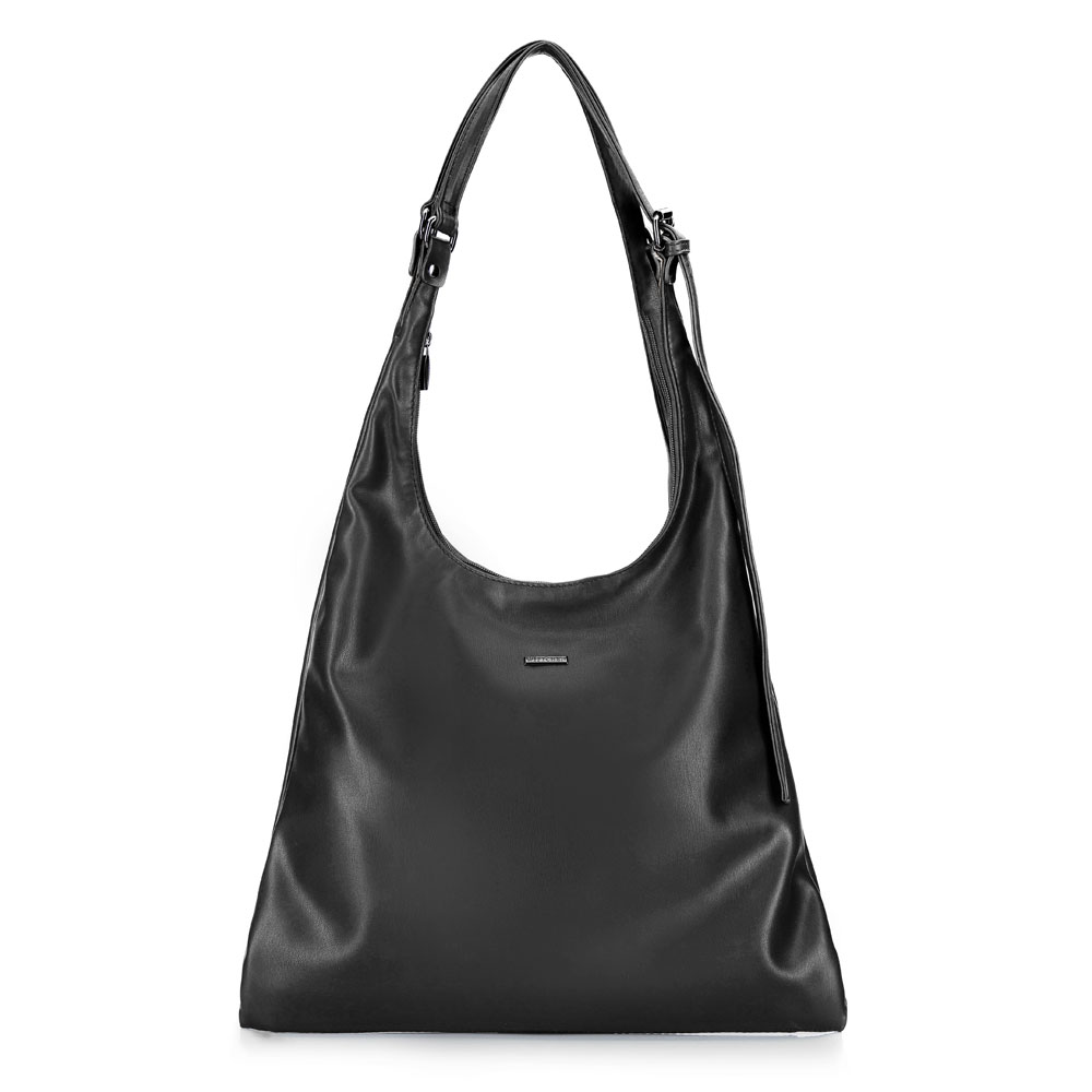 Women's hobo bag with long-length shoulder straps, black, 92-4Y-607-1, Photo 1
