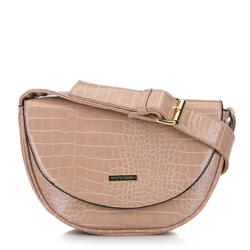 Croc print saddle clutch bag, beige, 92-4Y-902-9, Photo 1