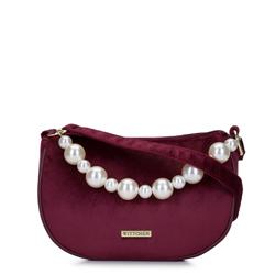 Damska listonoszka wieczorowa z perłami, bordowy, 93-4Y-433-2, Zdjęcie 1