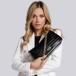 Damska torebka typu baguette na łańcuszku, czarny, 93-4Y-420-01, Zdjęcie 1