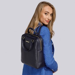 Women's faux leather backpack, navy blue, 93-4Y-208-N, Photo 1