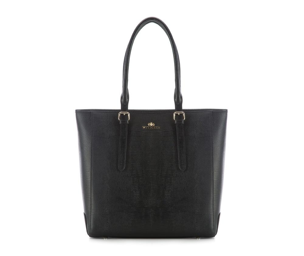 Женская сумка Wittchen 83-4E-434-1, черныйОсновной отдел застегивается на молниюВДно сумки защищено металлическими  ножками.<br><br>секс: женщина<br>Цвет: черный<br>вмещает формат А4: поместит формат А4<br>материал:: Натуральная кожа<br>высота (см):: 33<br>ширина (см):: 32 - 40<br>глубина (см):: 14<br>общая высота (см):: 54 - 64<br>длина ручки/ек (см):: 50 - 70