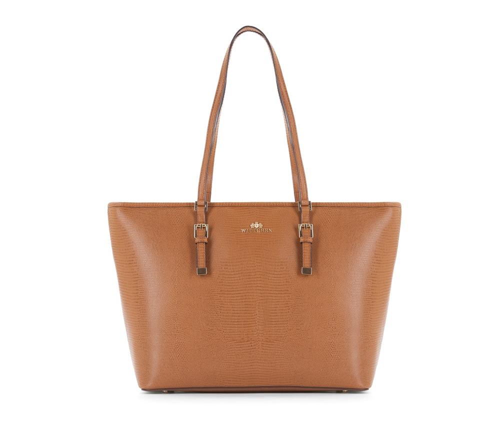 Женская сумкаЖенская сумка из коллекции Elegance&#13;<br>Основной отдел застегивается на молниюи разделен карманом на молнии. Внутри двакармана на молнии, открытый карман для мелких предметов и отделение для мобильного телефона. С тыльной стороны карман на молнии. Дно сумки защищено металлическими ножками.<br><br>секс: женщина<br>Цвет: коричневый<br>вмещает формат А4: поместит формат А4<br>материал:: Натуральная кожа<br>высота (см):: 29<br>ширина (см):: 34 - 44<br>глубина (см):: 13.5<br>общая высота (см):: 56<br>длина ручки/ек (см):: 64