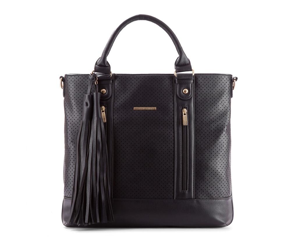 Женская сумкаЖенская сумка из коллекции Young&#13;<br>Основной отдел застегивается на молнию. Внутри отделение на молнии, открытый карман для мелких предметов и отделение для мобильного телефона. С тыльной стороны карман застегивается на молнию. Дополнительно прилагается съемный, регулируемый  ремешок<br><br>секс: женщина<br>Цвет: черный<br>материал:: Экокожа<br>длина плечевого ремня (cм):: 66 - 121<br>высота (см):: 35<br>ширина (см):: 40<br>глубина (см):: 7<br>иное :: поместит формат А4<br>общая высота (см):: 48