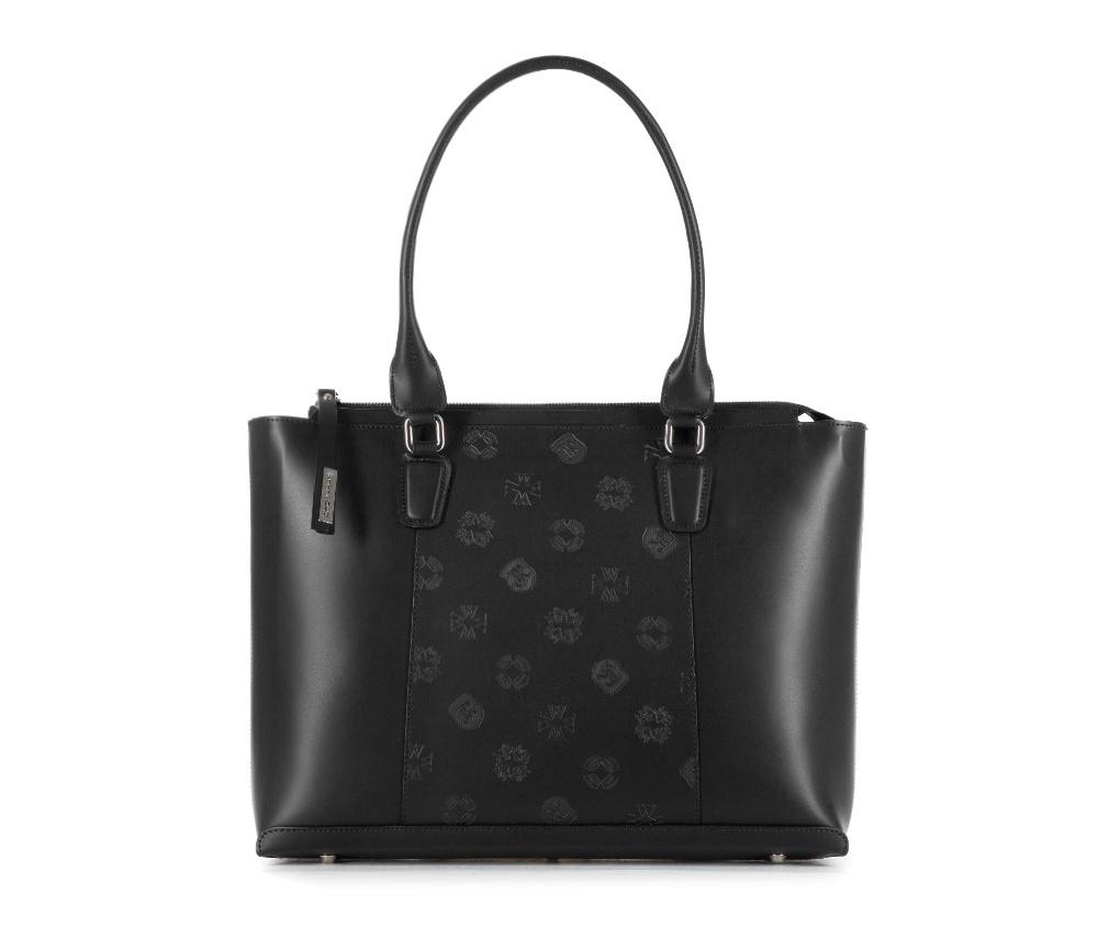 Женская сумкаЖенская сумка из коллекции EleganceОсновной отдел застегивается на молнию. Внутри карман на молнии, открытый карман для мелких предметов и отделение для мобильного телефона. Дно сумки защищено металлическими ножками.<br><br>секс: женщина<br>Цвет: черный<br>вмещает формат А4: Вмещает формат А4<br>материал:: Натуральная кожа<br>высота (см):: 28<br>ширина (см):: 37 - 39<br>глубина (см):: 10<br>общая высота (см):: 52