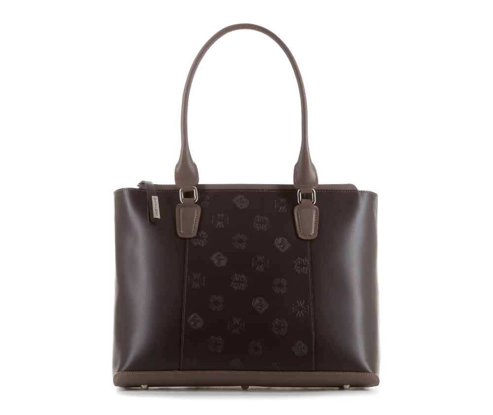 Женская сумкаЖенская сумка из коллекции Elegance&#13;<br>Основной отдел застегивается на молнию. Внутри карман на молнии, открытый карман для мелких предметов и отделение для мобильного телефона. Дно сумки защищено металлическими ножками.<br><br>секс: женщина<br>Цвет: коричневый<br>вмещает формат А4: Вмещает формат А4<br>материал:: натуральная кожа<br>высота (см):: 28<br>ширина (см):: 37 - 39<br>глубина (см):: 10<br>общая высота (см):: 52