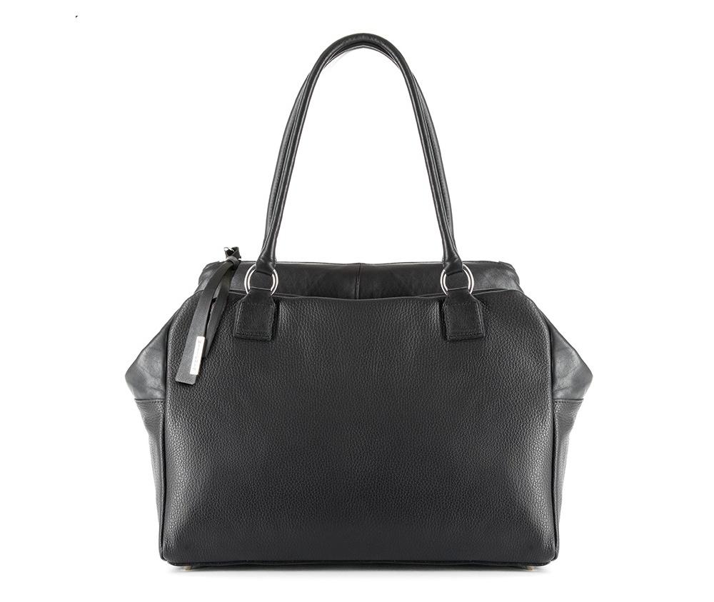 Женская сумкаЖенская сумка из коллекции Elegance&#13;<br>Основной отдел застегивается на молнию. Внутри карман на молнии, открытый карман для мелких предметов и отделение для мобильного телефона. Снаружи карман на молнии. Дно сумки защищено металлическими ножками.<br><br>секс: женщина<br>Цвет: черный<br>материал:: натуральная кожа<br>высота (см):: 26<br>ширина (см):: 38<br>глубина (см):: 14<br>иное :: поместит формат А4<br>общая высота (см):: 51<br>длина ручки/ек (см):: 62
