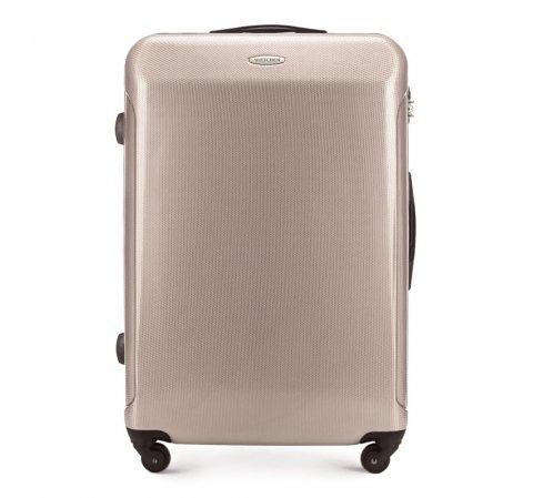 Duża walizka z polikarbonu prosta, beżowy, 56-3P-973-10, Zdjęcie 1