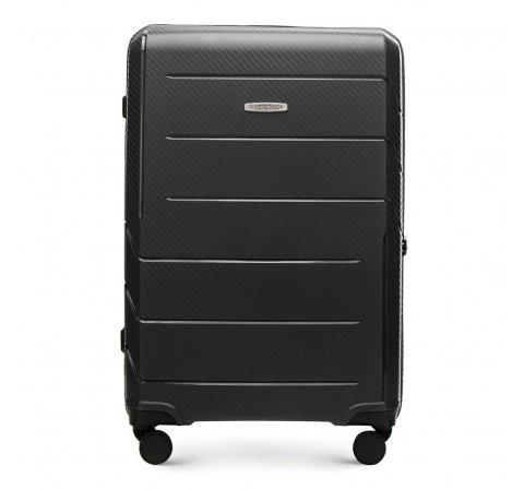 Średnia walizka z polipropylenu w nowoczesny wzór, czarny, 56-3T-772-9R, Zdjęcie 1