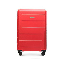Średnia walizka z polipropylenu w nowoczesny wzór, czerwony, 56-3T-772-3R, Zdjęcie 1