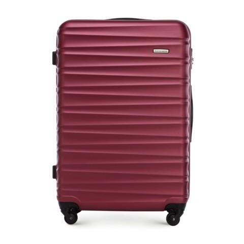 Duża walizka z ABS-u z żebrowaniem, bordowy, 56-3A-313-01, Zdjęcie 1