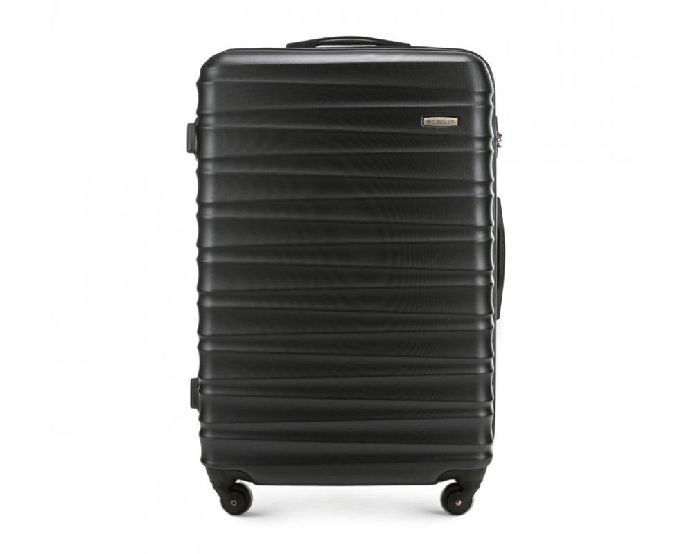 Чемодан на колёсикахБольшой чемодан из коллекции GROOVE Line, выполнен из прочного пластика ABS. Модель оснащена четырьмя колесиками, выдвижной ручкой , двумя эластичными прорезиненными ручками и кодовым замком.    Внутри :   отделение с эластичными ремнями, предохраняющими одежду от перемещения;  отделение на молнии.   *Указанные размеры включают в себя также выступающие элементы, такие как ручки или колеса.<br><br>секс: унисекс<br>Цвет: черный<br>материал:: ABS пластик<br>подкладка:: полиэстр<br>высота (см):: 77<br>ширина (см):: 52<br>глубина (см):: 29<br>размер:: большой<br>объем (л):: 96<br>вес (кг):: 4.1