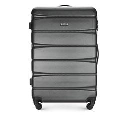 Duża walizka z ABS-u w poziome pasy, grafitowy, 56-3A-363-12, Zdjęcie 1