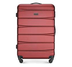 Duża walizka z ABS-u w poziome pasy, bordowy, 56-3A-363-36, Zdjęcie 1