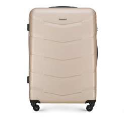 Duża walizka z ABS-u w deseń, beżowy, 56-3A-403-86, Zdjęcie 1