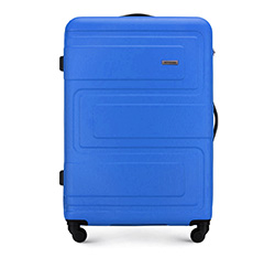 Duża walizka z ABS-u tłoczona, niebieski, 56-3A-633-95, Zdjęcie 1