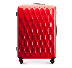Duża walizka z ABS-u karbowana, czerwony, 56-3H-553-30, Zdjęcie 1