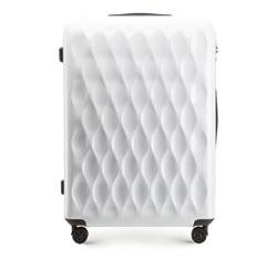 Duża walizka z ABS-u karbowana, biały, 56-3H-553-88, Zdjęcie 1
