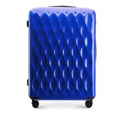 Duża walizka z ABS-u karbowana, niebieski, 56-3H-553-90, Zdjęcie 1