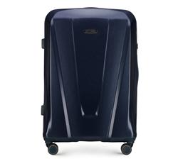 Duża walizka z polikarbonu geometryczna, granatowy, 56-3P-123-90, Zdjęcie 1