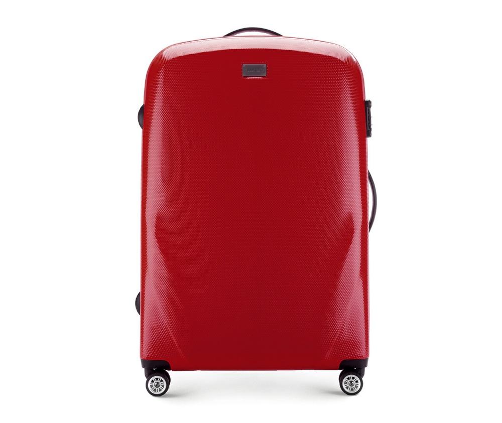 Чемодан на колёсиках 28\\ Wittchen 56-3P-573-30, красныйБольшой чемодан из коллекции PC Ultra Light, сделан из очень прочного материала - поликарбоната с дополнительным покрытием, повышающим устойчивость к царапинам. Модель оснащена  4 колесиками сделанные из пластика ABS с термопластичным покрытием, трехступенчатой выдвижной ручкой и прорезиненной ручкой для ношения в руке. Дополнительно кодовый замок TSA. , который гарантирует безопасное открытие чемоданов и его повторное закрытие без повреждения замка сотрудниками таможни.   Внутри :    отделение с эластичными ремнями, предохраняющими одежду от перемещения;  отделение на молнии;  2 кармана из сетки на молнии.<br><br>секс: унисекс<br>материал:: Поликарбонат<br>подкладка:: полиэстр<br>высота (см):: 79<br>ширина (см):: 53<br>глубина (см):: 27<br>размер:: большой<br>объем (л):: 95<br>вес (кг):: 4