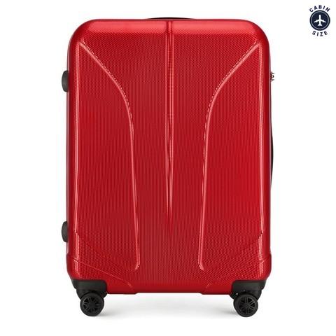 Duża walizka z polikarbonu żłobiona, czerwony, 56-3P-813-10, Zdjęcie 1