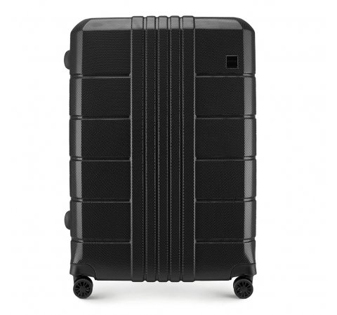 Duża walizka z polikarbonu żłobiona, czarny, 56-3P-823-60, Zdjęcie 1