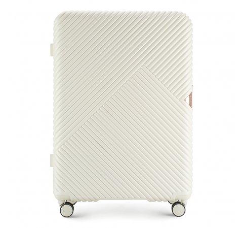 Duża walizka z polikarbonu w paseczki, biały, 56-3P-843-77, Zdjęcie 1