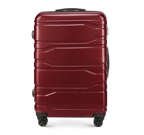 Duża walizka z polikarbonu tłoczona, bordowy, 56-3P-983-10, Zdjęcie 1