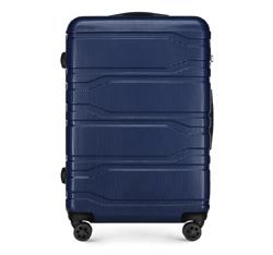 Duża walizka z polikarbonu tłoczona, granatowy, 56-3P-983-91, Zdjęcie 1
