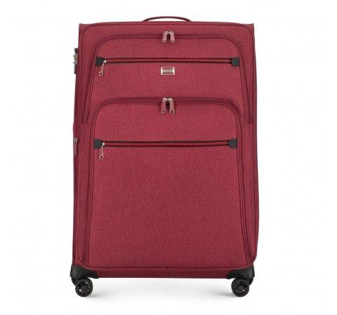 Duża miękka walizka z czerwonym suwakiem, bordowy, 56-3S-503-30, Zdjęcie 1