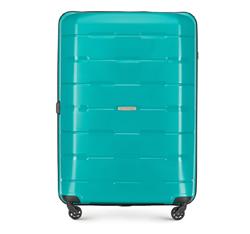Duża walizka z polipropylenu żłobiona, turkusowy, 56-3T-723-85, Zdjęcie 1