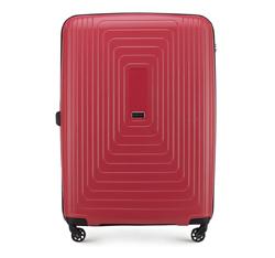 Duża walizka z polipropylenu w geometryczny deseń, czerwony, 56-3T-783-30, Zdjęcie 1